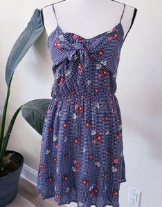 Everly Floral Print Knot Lined Dress Gingham Blue